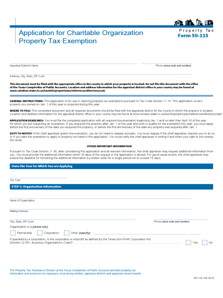 Application for Charitable Organization Property Tax Exemption - Texas
