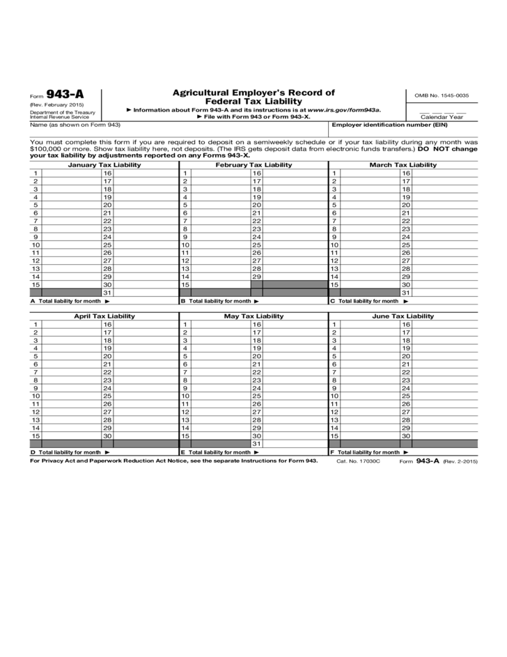 Agricultural Employer's Record of Federal Tax Liability Free Download