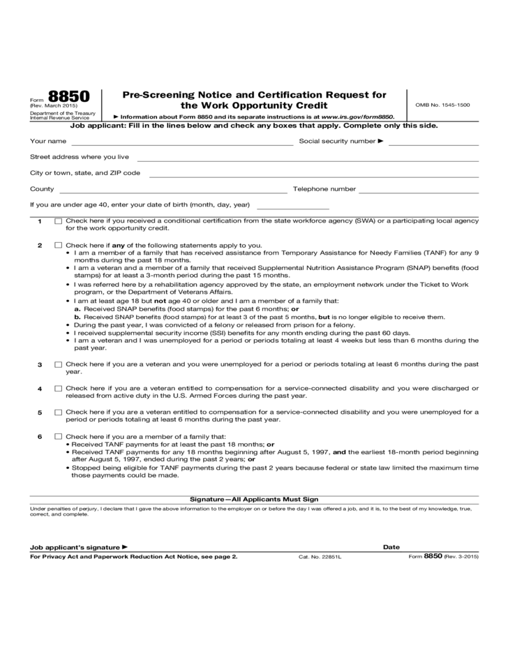 Pre Screening Notice And Certification Request For The Work