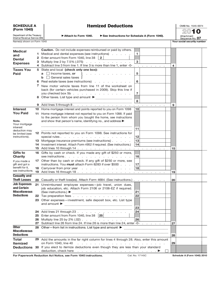 Schedule A Itemized Deductions Worksheet | Worksheet & Workbook Site