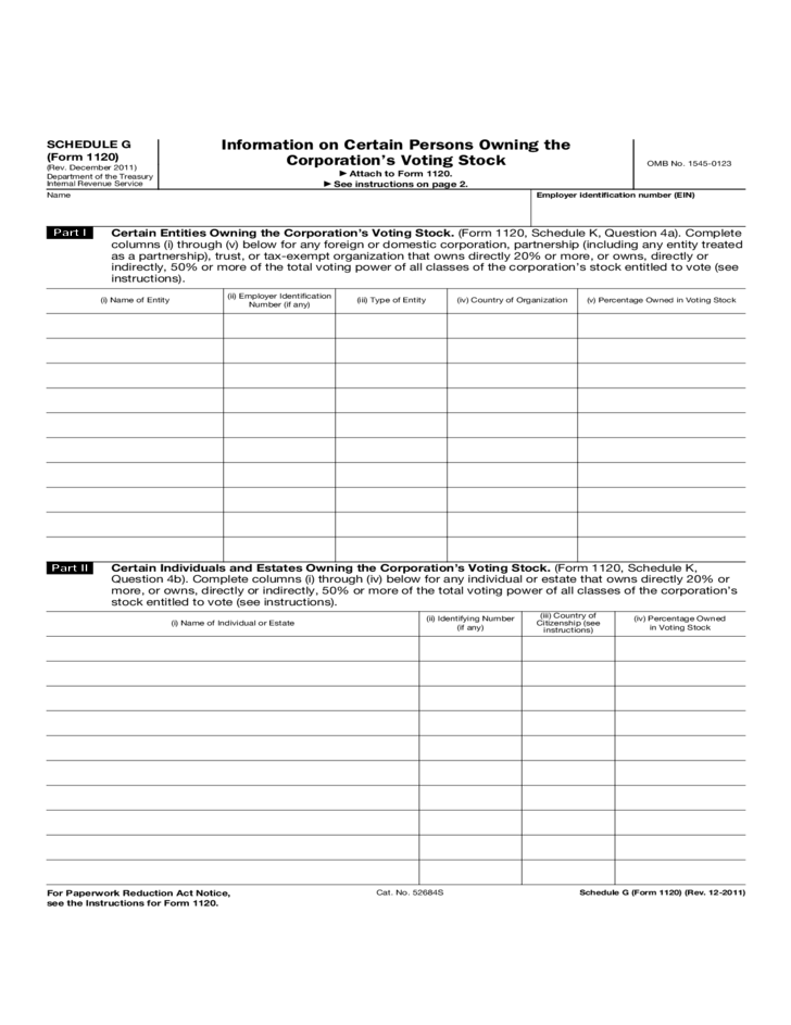 Form 1120 Schedule G Information On Certain Persons Owning The