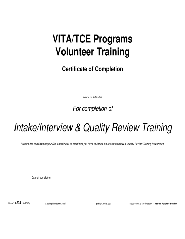 form 14534  interview and quality review certificate  2013  free download
