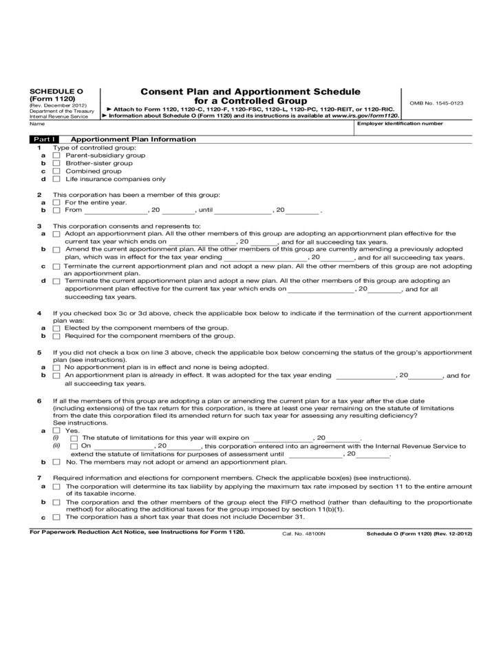 Form 1120 Schedule O Consent Plan And Apportionment Schedule