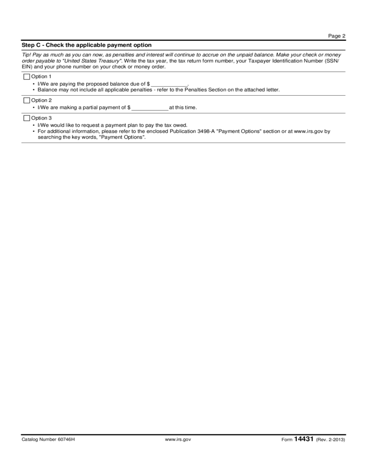 Form 14431 - Response to Proposed Adjustment (2013) Free Download