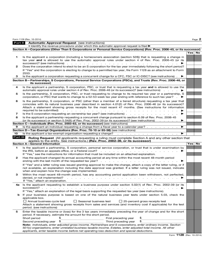 Form 1128 Application To Adopt Change Or Retain A Tax Year2014