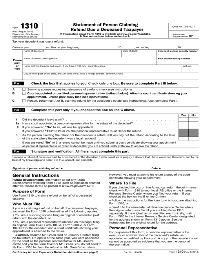 Form 1310 - Statement of Person Claiming Refund Due a ...