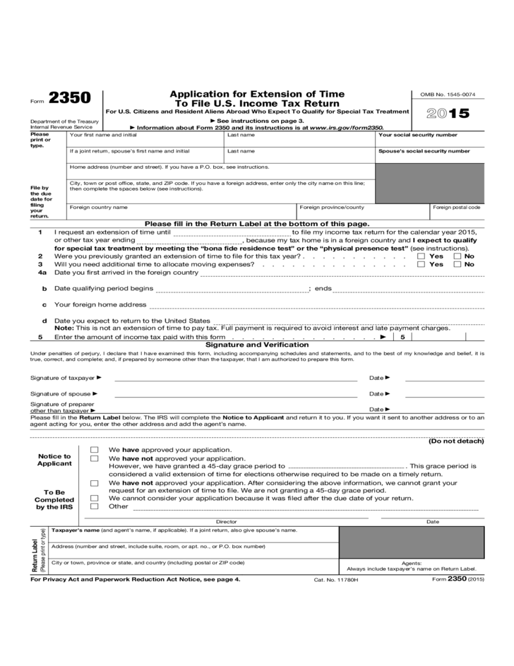 form 2350 - application for extension of time to file u.s. income