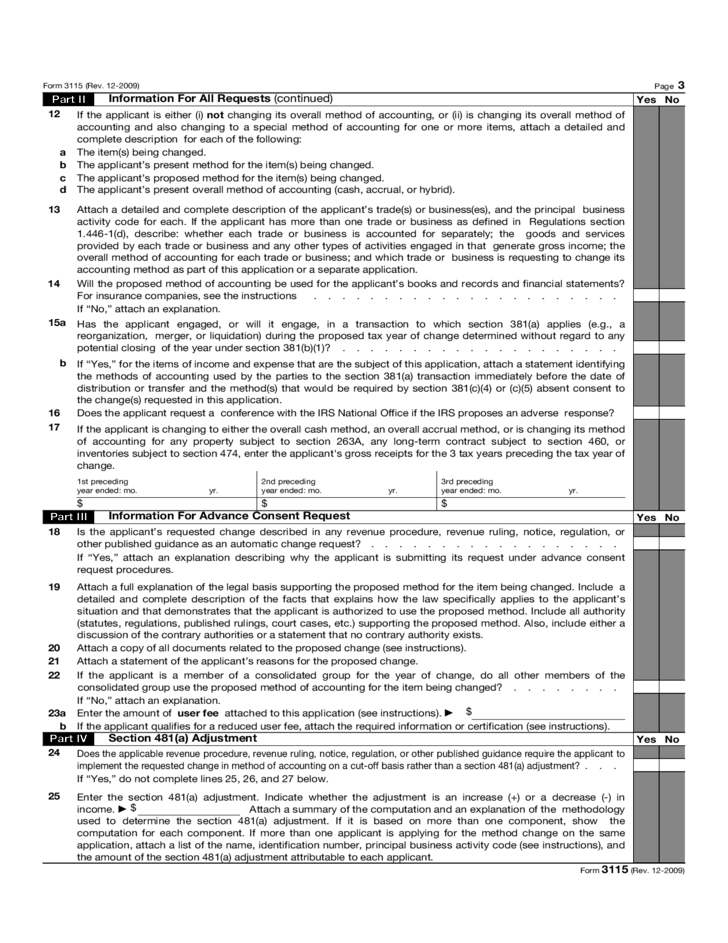 Form 3115 Application For Change In Accounting Method2015 Free