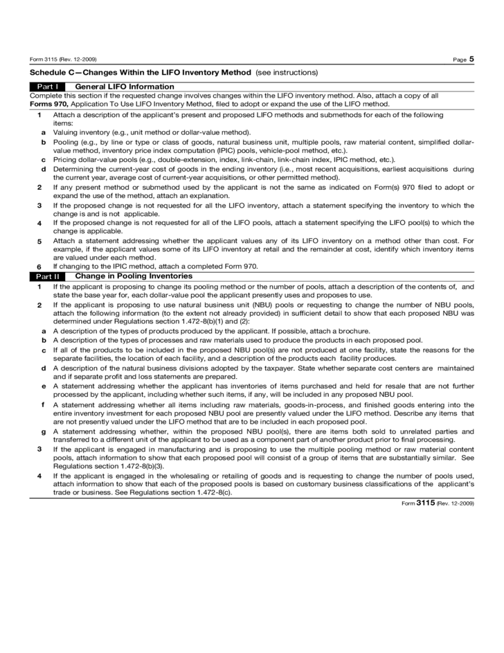 Form 3115 application for change in accounting method 2015 free