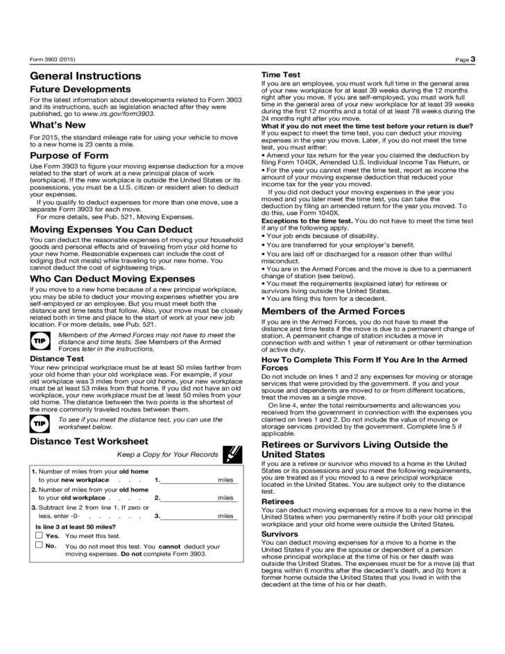 form-3903-moving-expenses-2015-l3 Tax Form Application Template on simple account, church membership, mortgage loan, blank employment, internal job, gym membership, free employee, blank membership, new vendor,