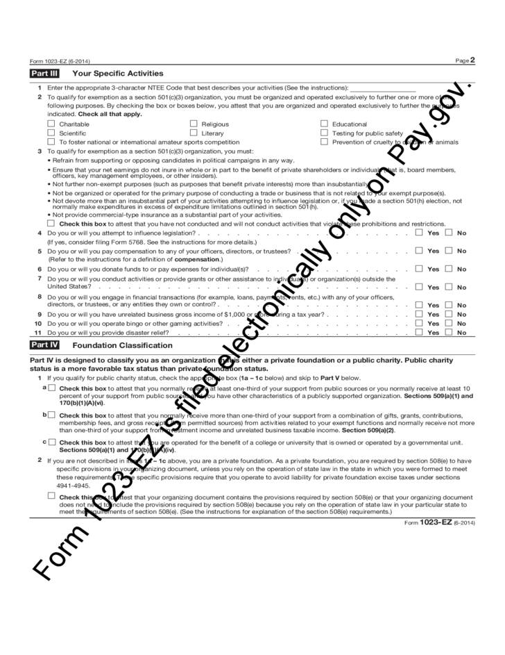 Form 1023-EZ - Streamlined Application for Recognition of ...