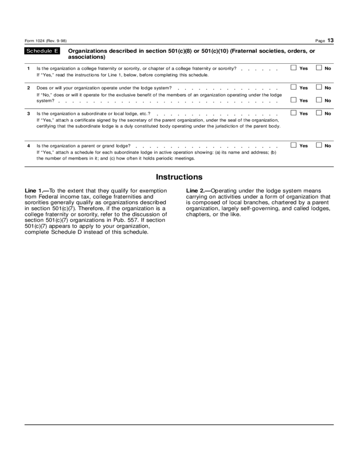 Irs Form 1023 Or 1024 Images Free Form Design Examples