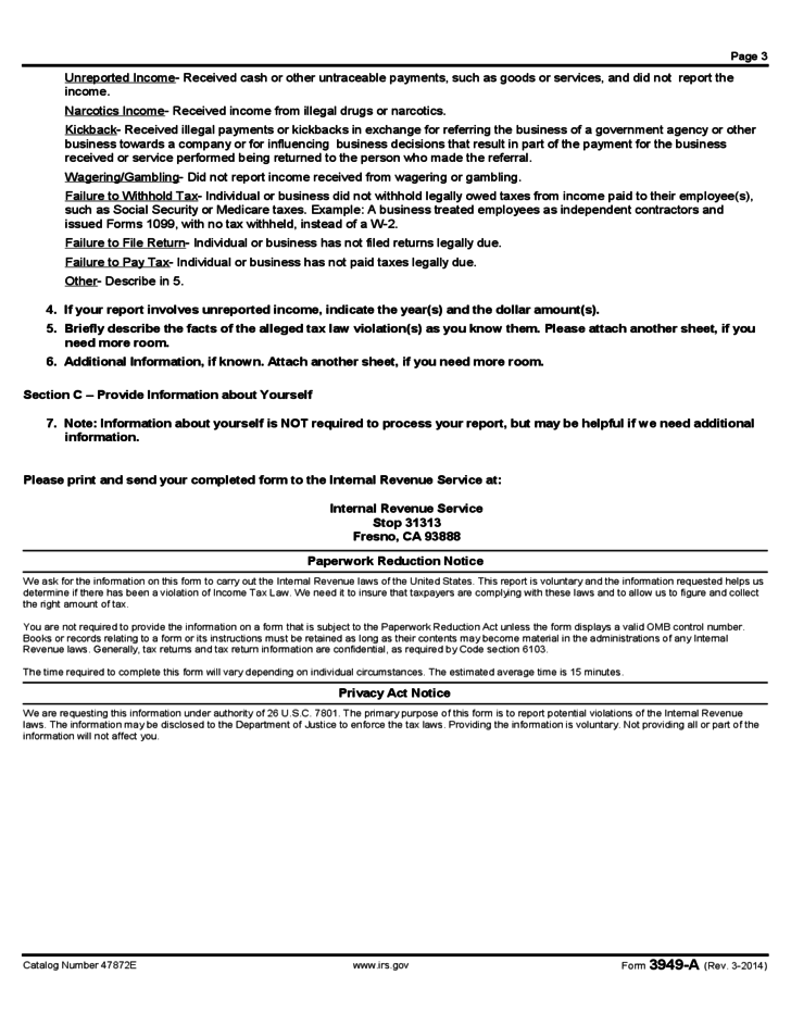 Form 3949-A - Information Referral (2014) Free Download