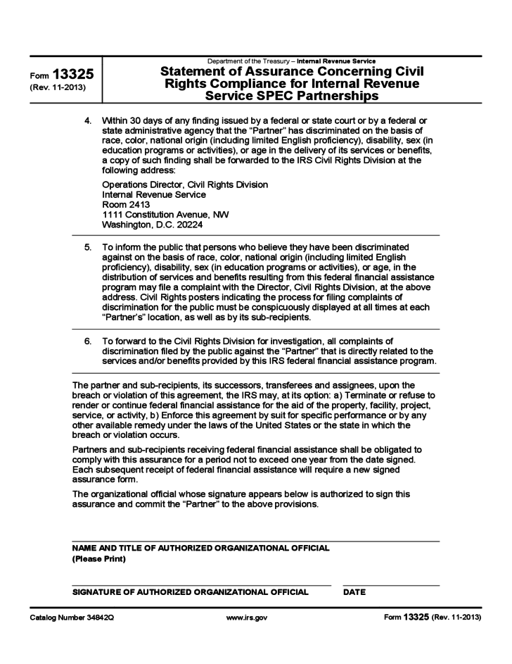 Form 13325 - Statement of Assurance Concerning Civil Rights Compliance for IRS SPEC Partnerships (2013)