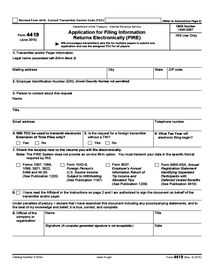 form 4419 - application for fire (2015) free download