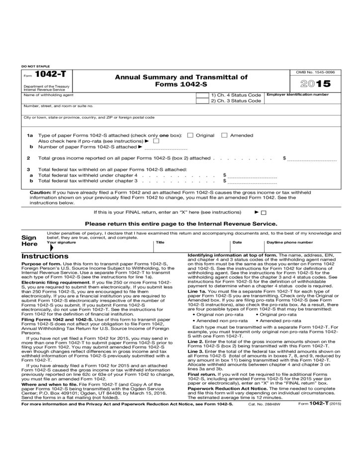 Form 1042 T Annual Summary And Transmittal Of Forms 1042 S 2015