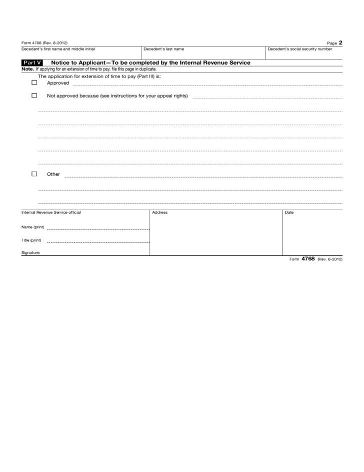 Form 4768 Application For Extension Of Time To File A Return And