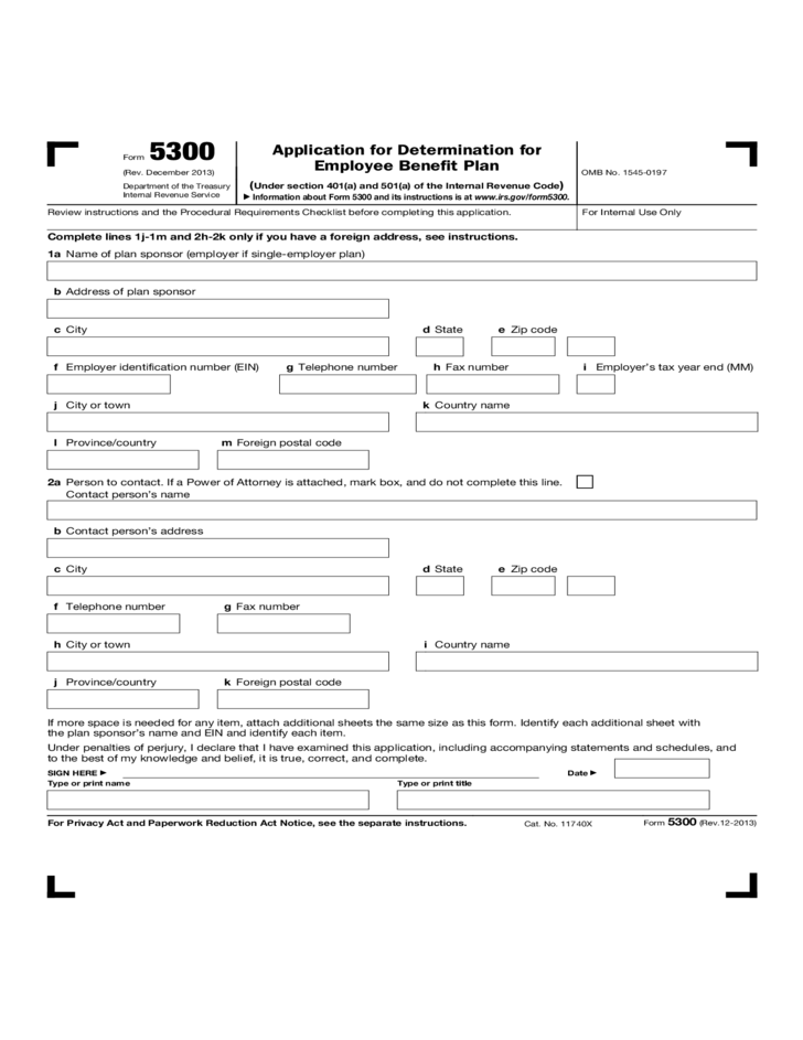 Form 5300 - Application for Determination for Employee Benefit ...