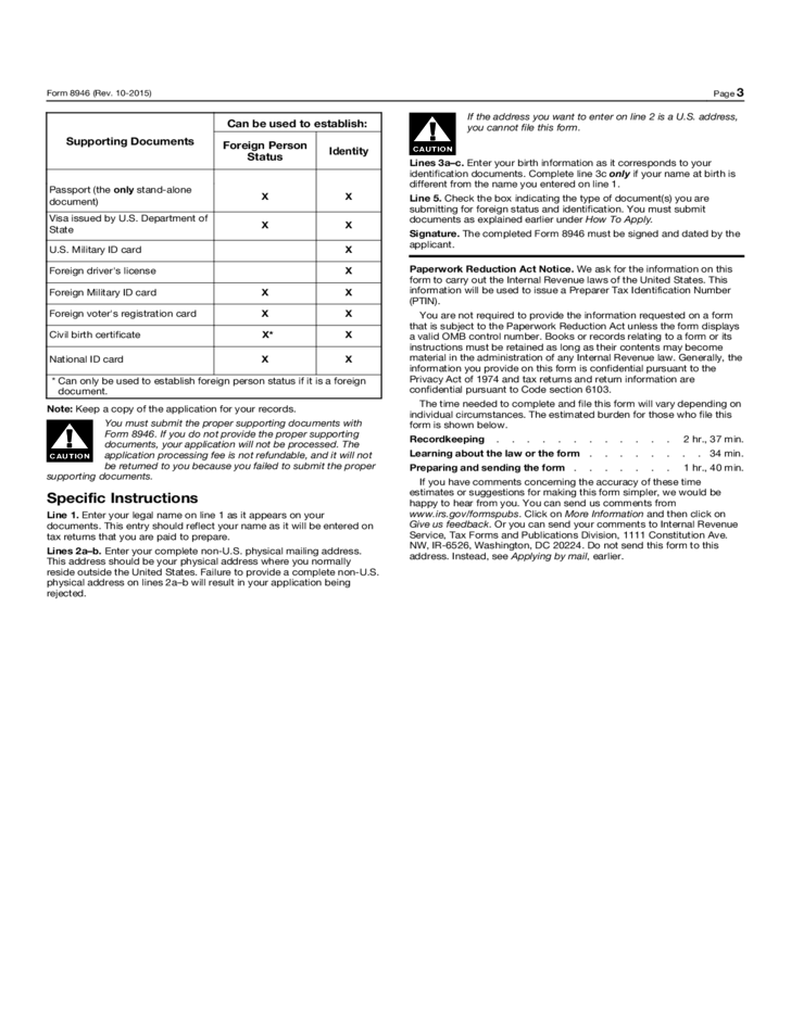 Form 8946 - PTIN Supplemental Application for Foreign Persons ...