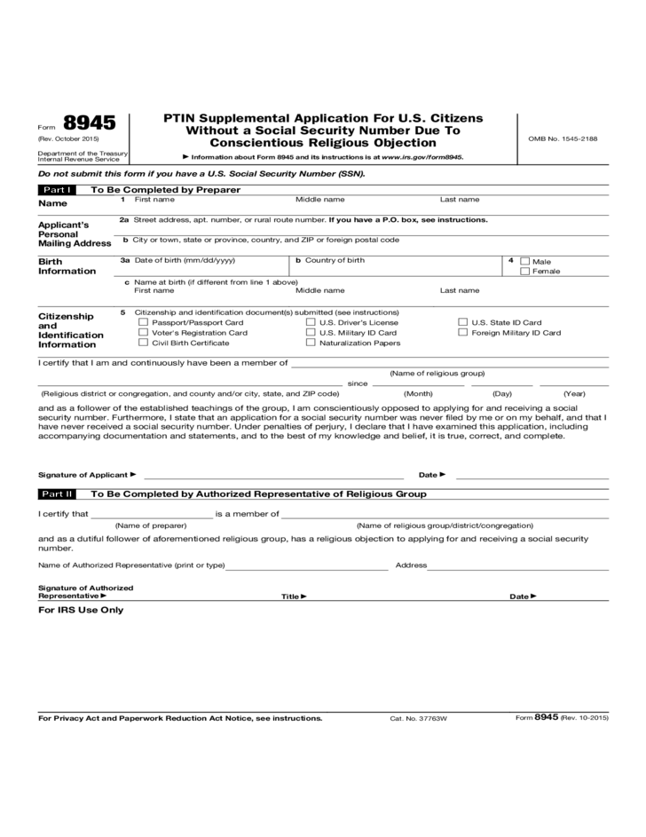 Form 8945 Ptin Supplemental Application For U S Citizens