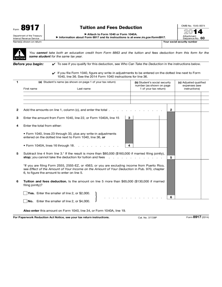Form 8917 Tuition And Fees Deduction 2014 Free Download