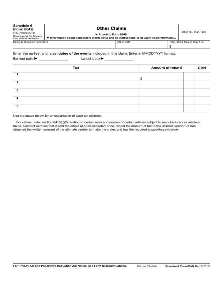 Form 8849 (Schedule 6) - Other Claims of Taxes IRS Form (2014 ...
