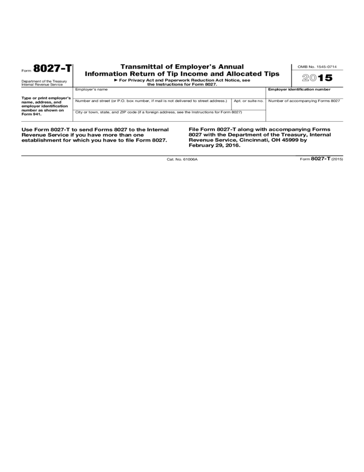 Form 8027 T Transmittal Of Employers Annual Information Return