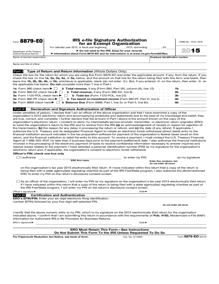 Form 8879 Eo Irs E File Signature Authorization For An Exempt