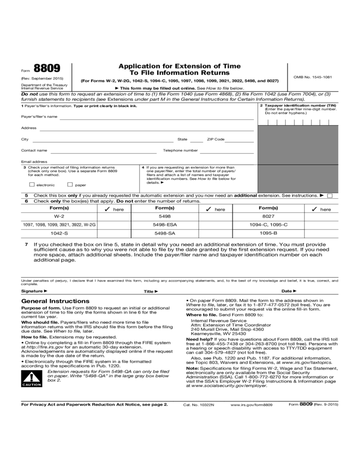 Form 8809 Application For Extension Of Time To File Information