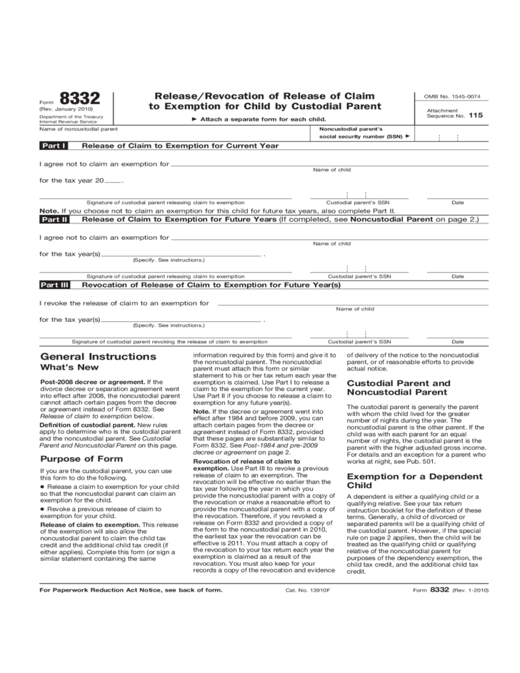 Form 8332 Releaserevocation Of Release Of Claim To Exemption For