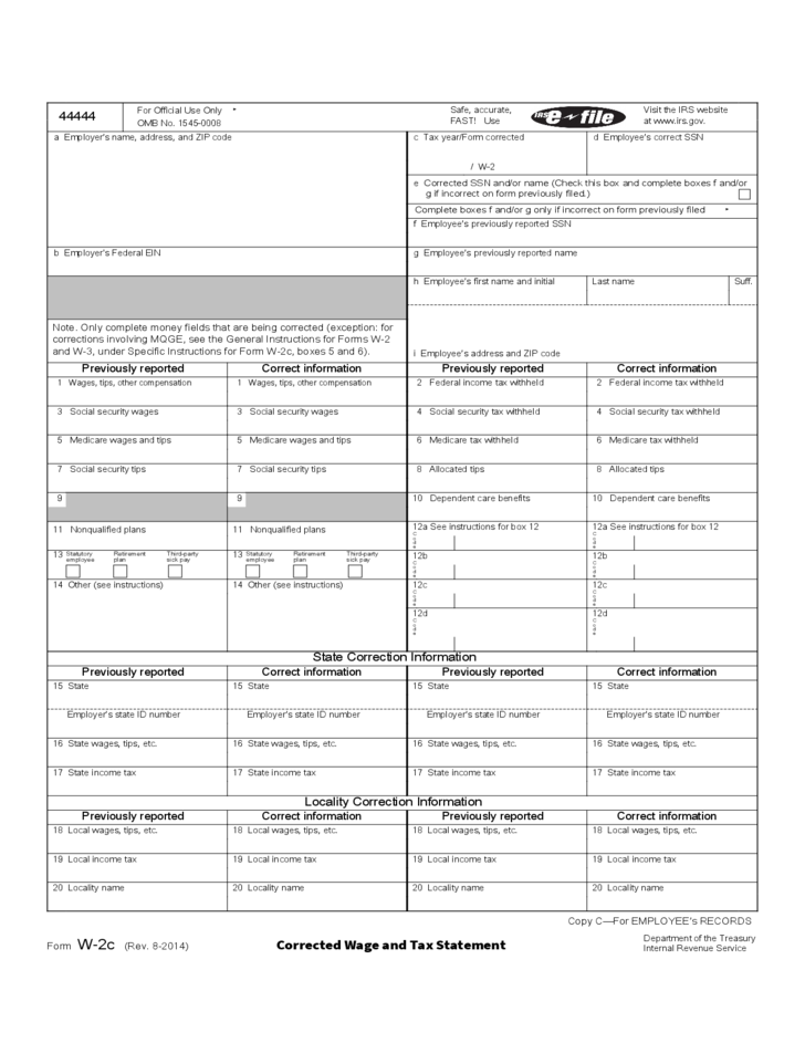 Form W 2c Corrected Wage And Tax Statement 2014 Free Download