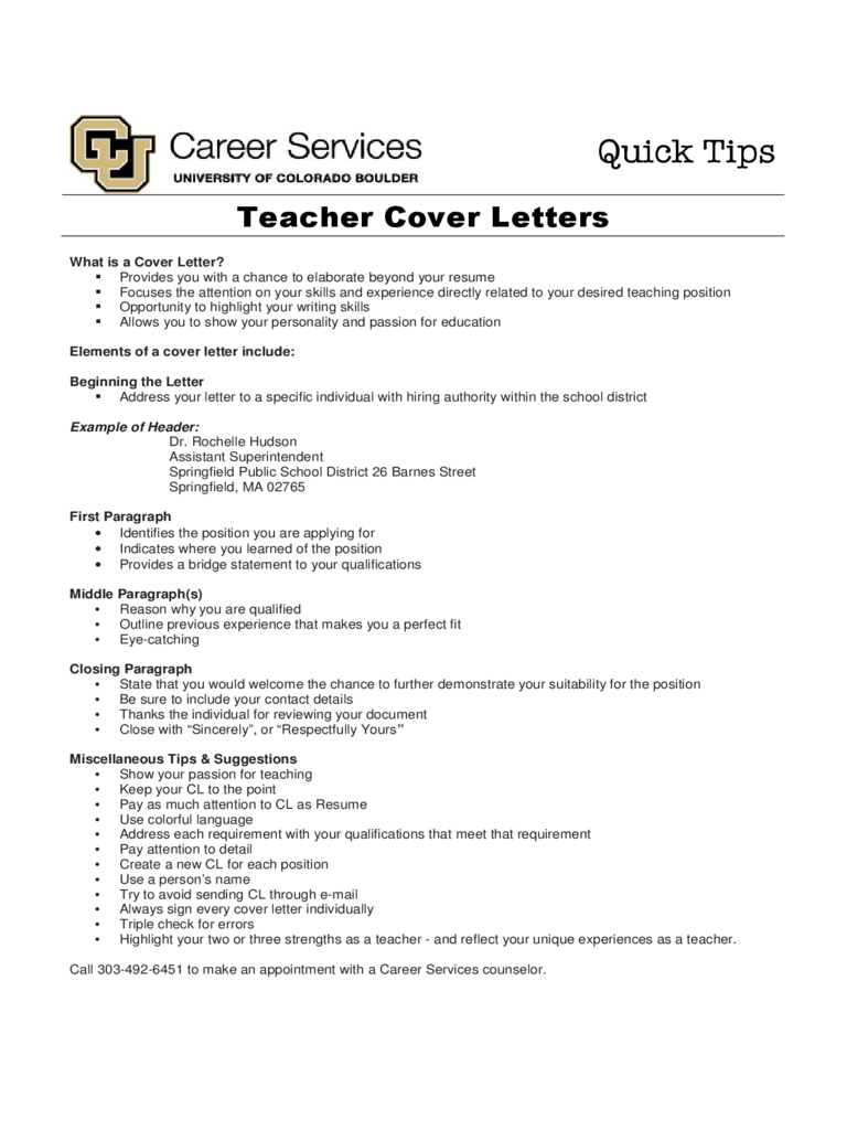 Teacher Cover Letter - Colorado