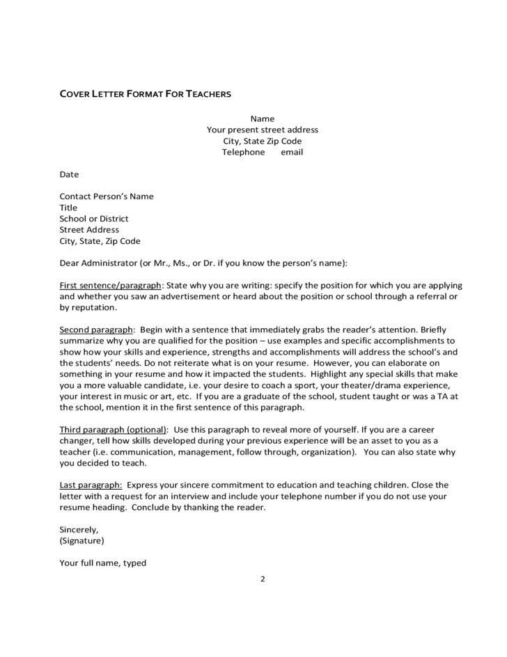 cover letter format for teachers free download