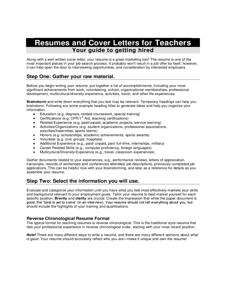 Resume and Cover Letter for Teacher