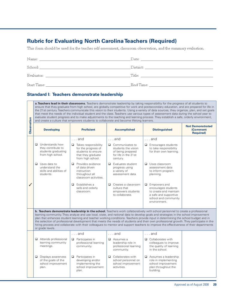 Rubric for Evaluating North Carolina Teachers Free Download