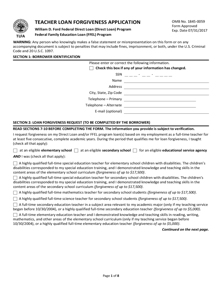 Teacher Loan Forgiveness Application Form Free Download