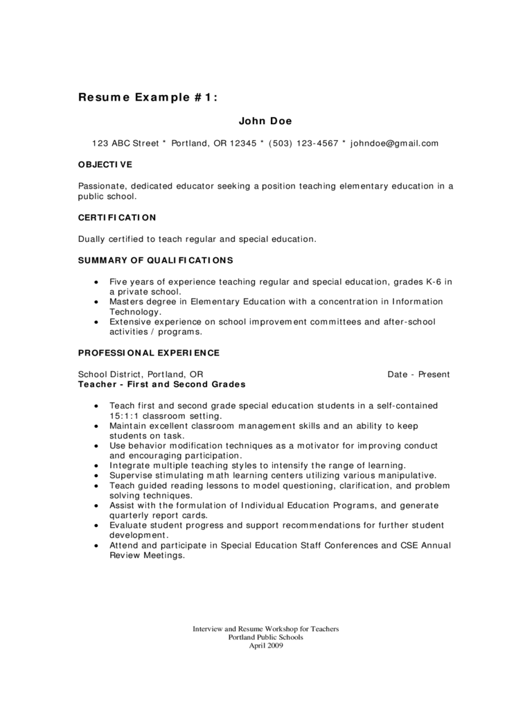 Teacher Resume Template 7 Free Templates In Pdf Word Excel