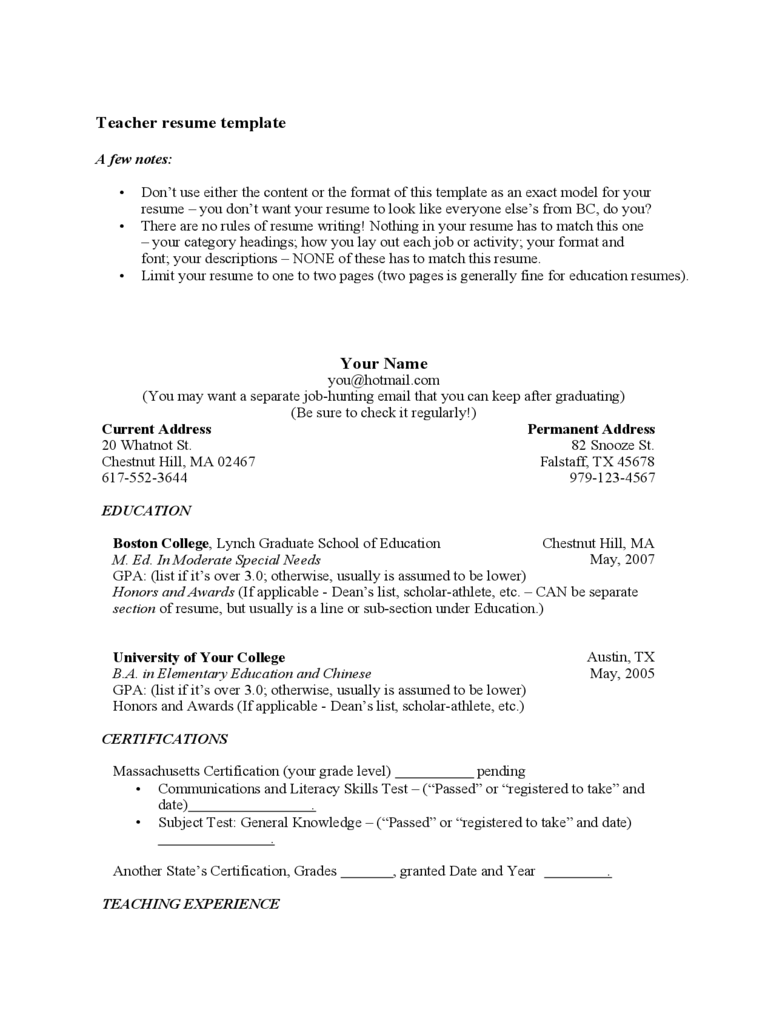 Template Of Teacher Resume Free Download