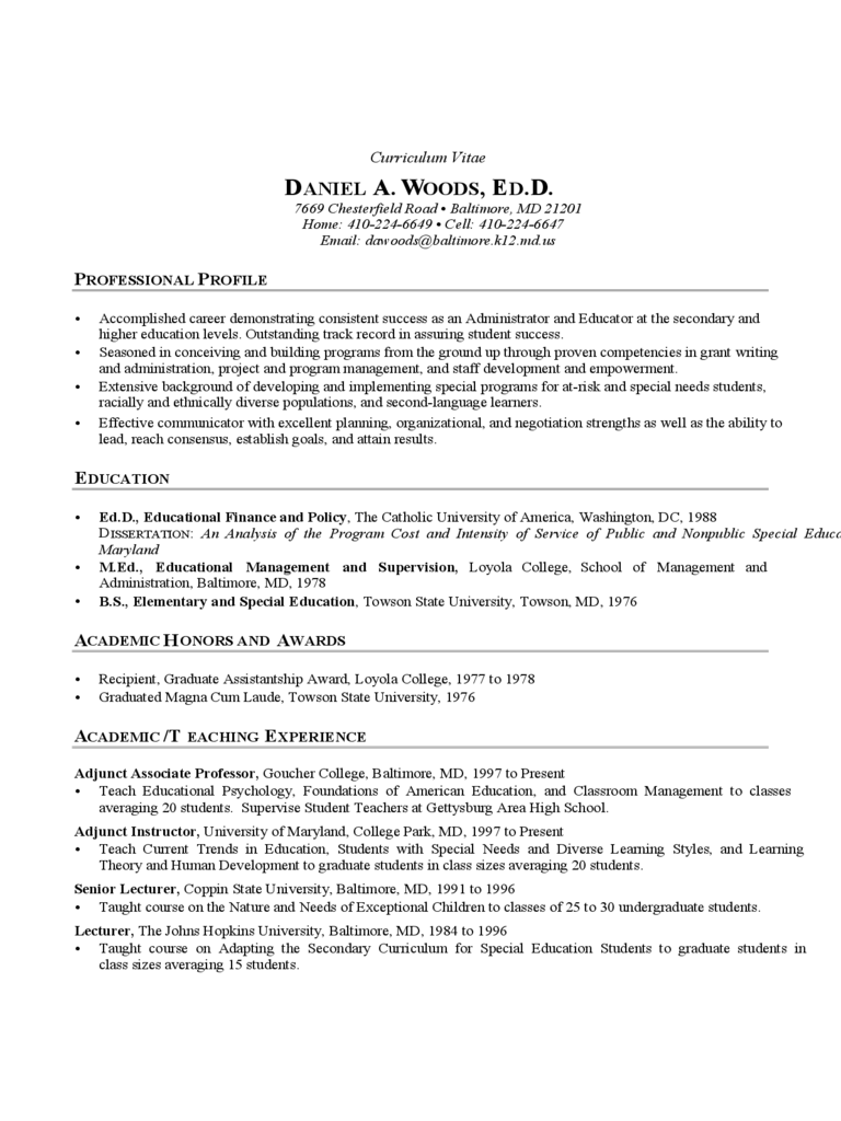 Educator CV Template