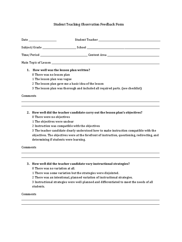 Teachers Observation Checklist. Observation Feedback Form .