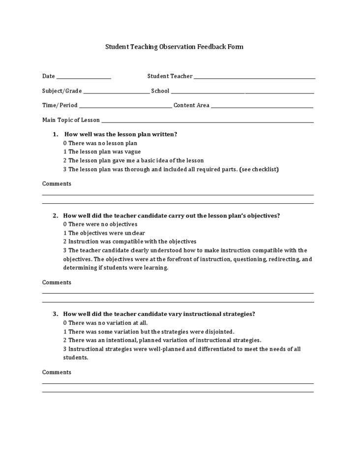 1 Student Teaching Observation Feedback Form