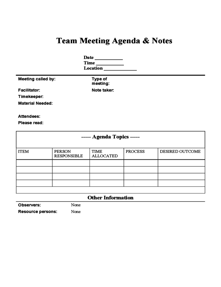 Team Meeting Agenda and Notes