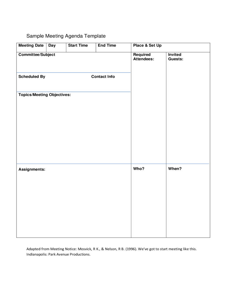 Team Meeting Agenda Template 4 Free Templates In Pdf