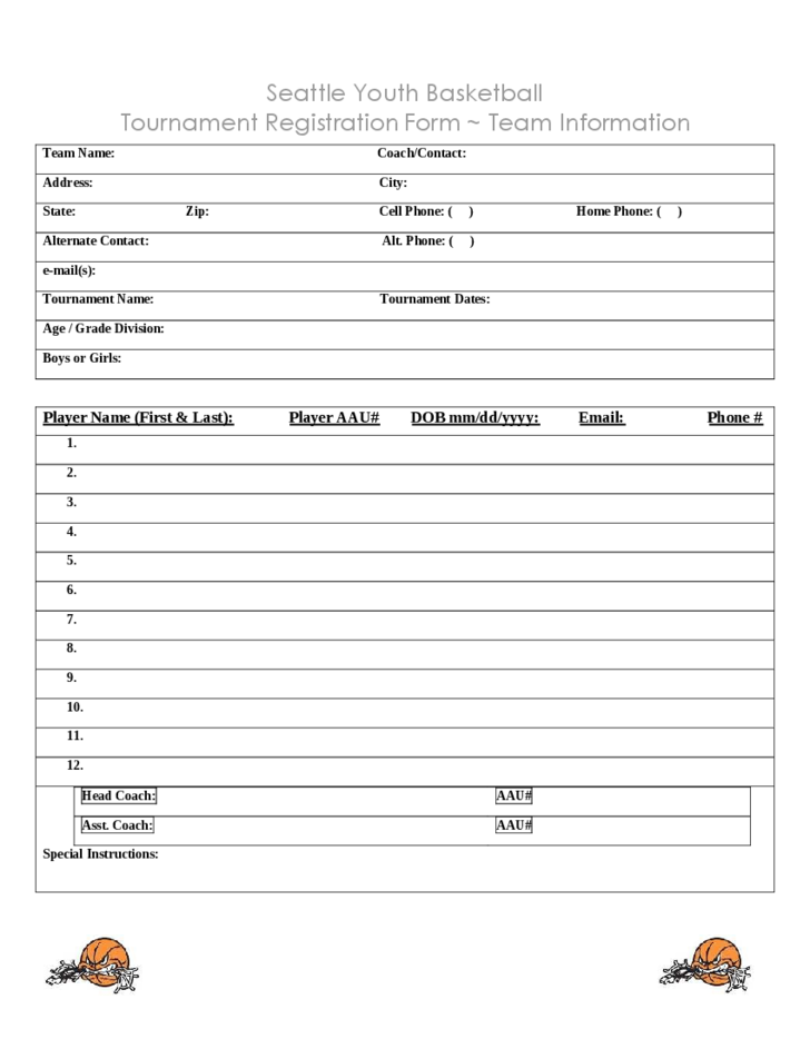 tournament registration form