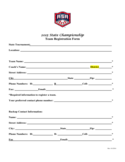 2015 State Championship Team Registration Form - Oregon Free Download