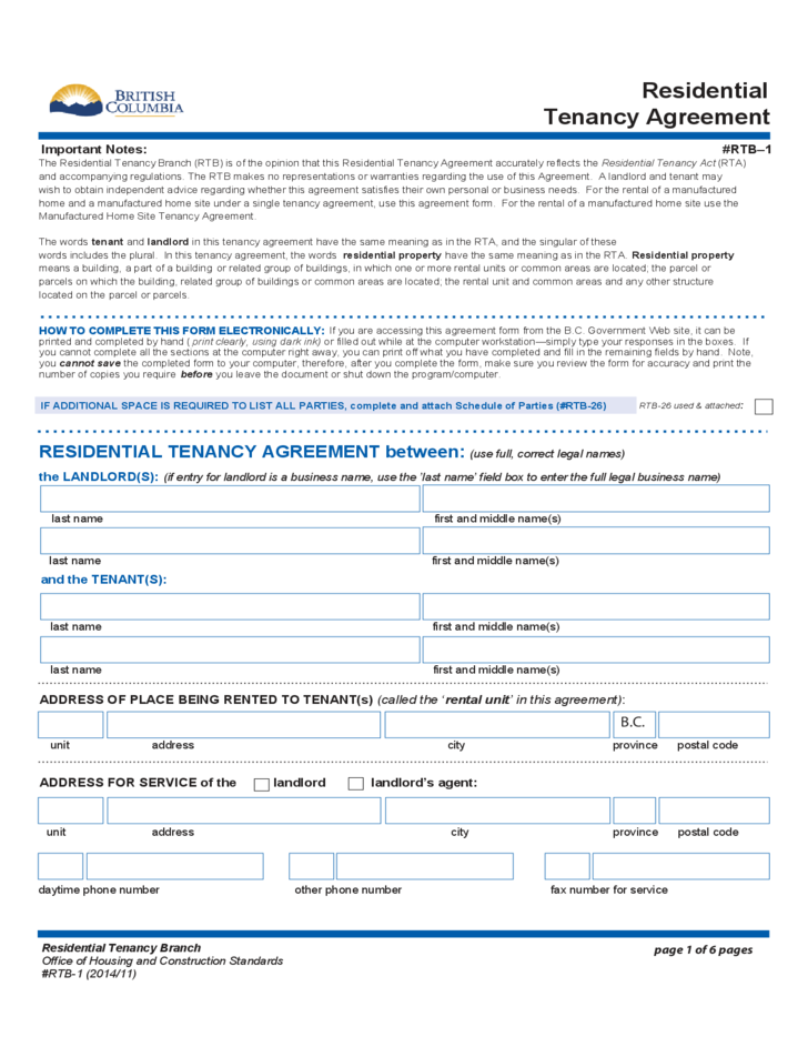 Residential Tenancy Agreement British Columbia Free Download