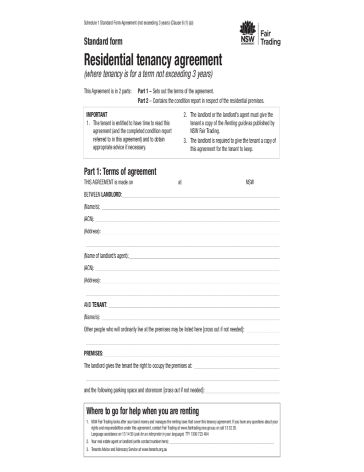 Standard Form For Residential Tenancy Agreement New South Wales