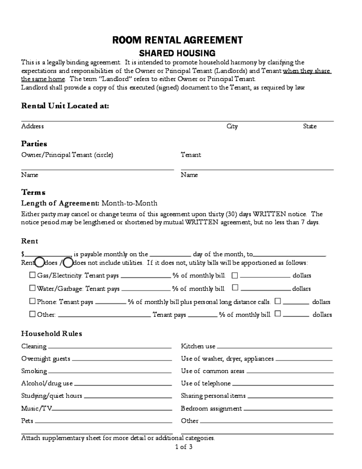 Sample Room Rental Agreement Free Download