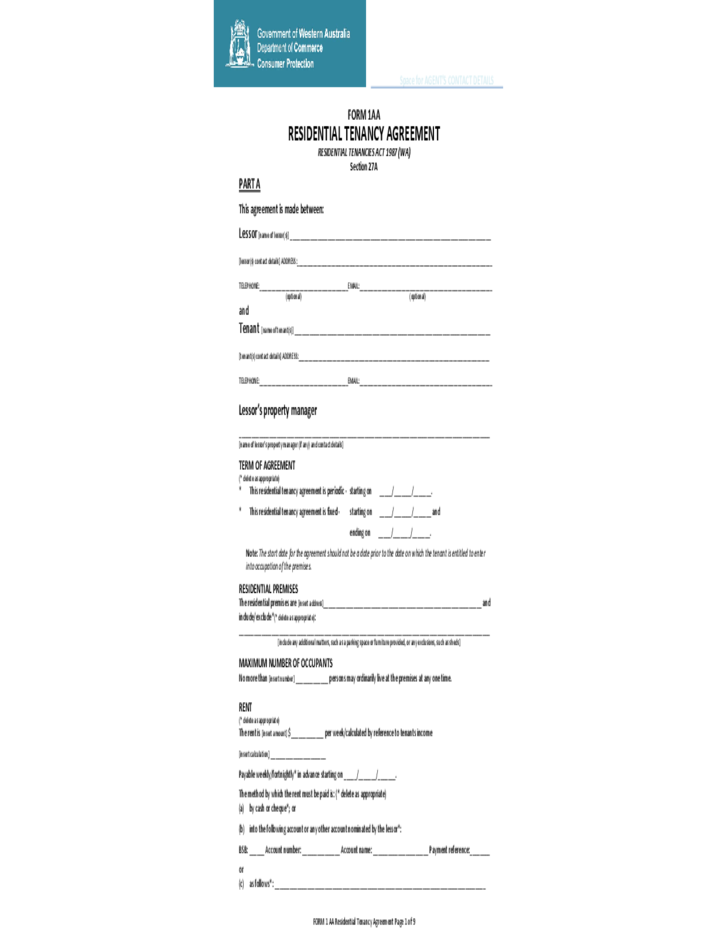 Residential Tenancy Agreement Template Free