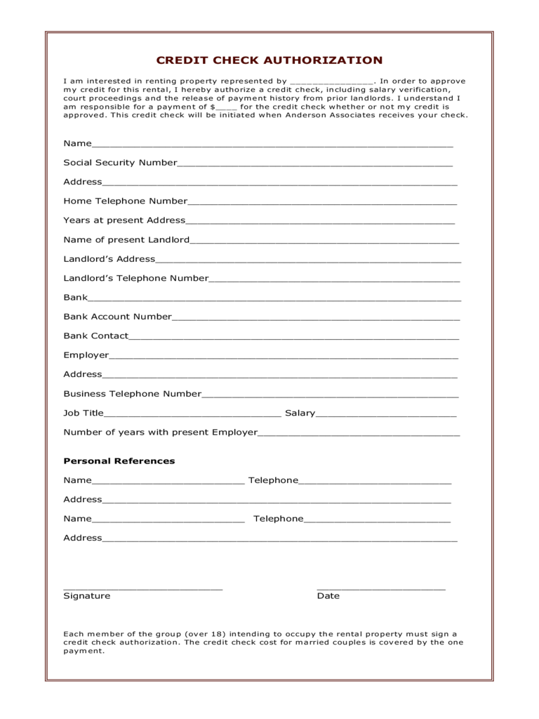 Connecticut Credit Check Authorization Form